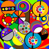 Cubist style floral background