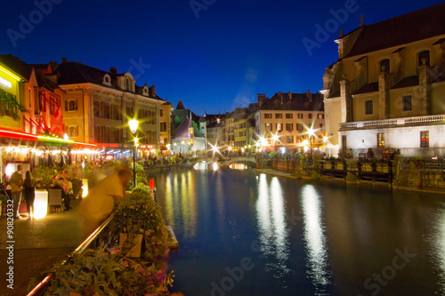 Poster Palais de l'isle by night in Annecy - France