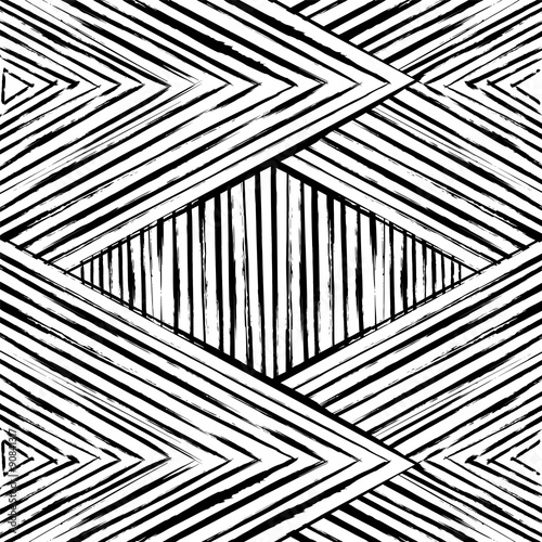 abstract geometric pattern background,  black and white, triangles - 90841317