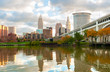 Cleveland Ohio as seen from the west bank of the Cuyahoga River
