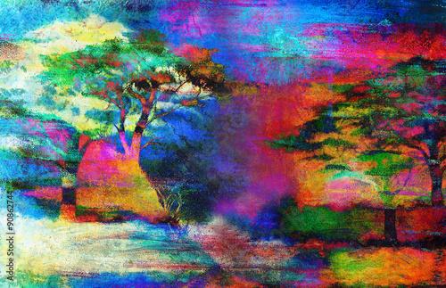 Zdjęcia na płótnie, fototapety na wymiar, obrazy na ścianę : Painting sunset, sea and tree, wallpaper landscape color collage