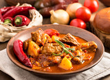 Fototapety Hungarian goulash in plate