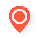 Map Pointer symbol in orange with drop shadow on white