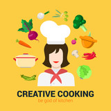Cooking flat vector logo concept: cook chief, food, kitchen