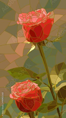 Naklejka Vector illustration of flowers red roses.
