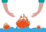 Refugees on Boat Concept. Hands helping Migrants Crossing the rough seas.  poster