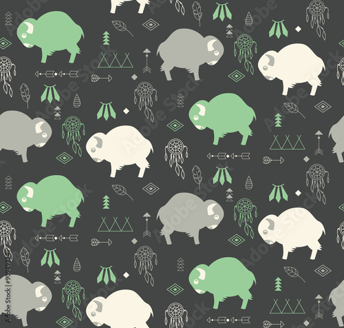 Seamless pattern with cute baby buffaloes and native American sy - 90949324