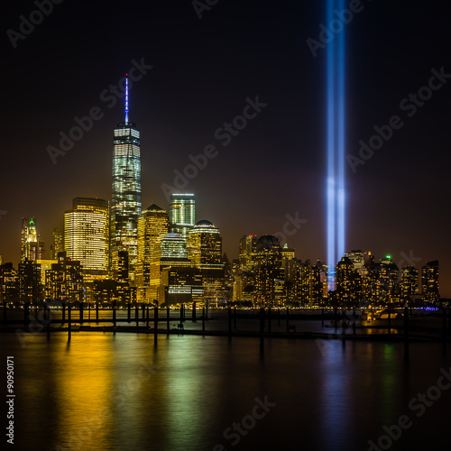 Poster View of New York City from New Jersey - cityscape including the Freedom Tower