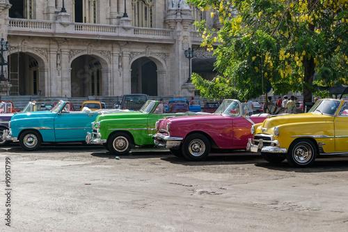 Cuban coloured taxis in Old Havana