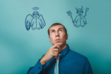 businessman thinking man looking up angel devil demon infographi