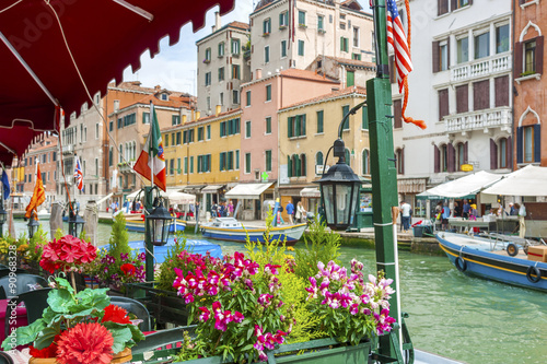 Sidewalk Cafe in Grand Canal of Venice, Italy