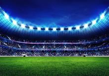 Moderne Fußballstadion mit Fans auf der Tribüne