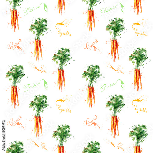 Fototapeta Seamless pattern with carrot. Watercolor illustration. Hand drawn. Delicious vegetables.