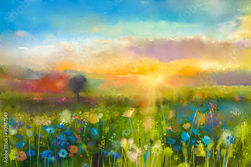 Fototapeta Oil painting flowers dandelion, cornflower, daisy in fields. Sunset meadow landscape with wildflower, hill and sky in orange and blue color background. Hand Paint summer floral Impressionist style