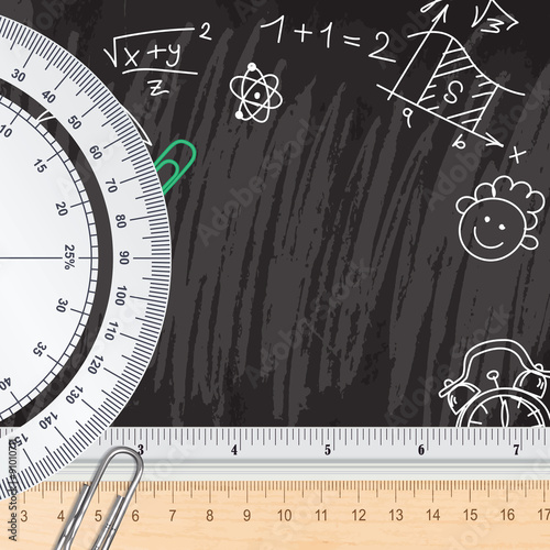 Poster Creative chalkboard school background with rulers