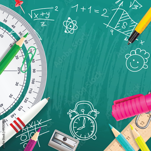 Stampa su Tela Creative vector chalk background with school supplies
