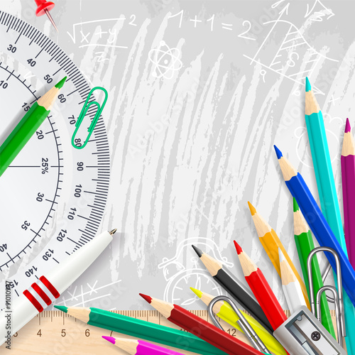 Stampa su Tela Grey vector chalk background with school supplies