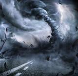 Powerful Tornado - Dramatic Destruction On The Road  - 91030730