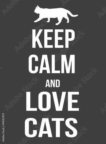 Keep calm and love cats poster Plakát