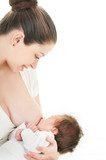 Young mother breastfeeds her baby. Breast-feeding. poster