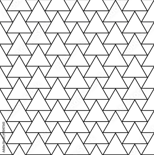Vector modern seamless geometry pattern triangles, black and white abstract geometric background,wallpaper print,  monochrome retro texture, hipster fashion design - 91047565