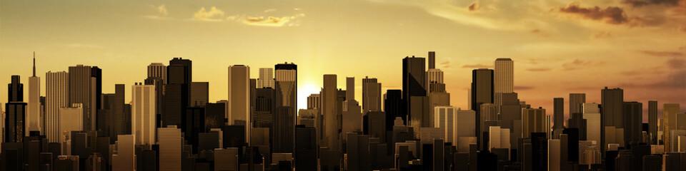 Wschód słońca panorama miasta 3D