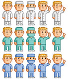 Pixel set of doctors, surgeons and physicians