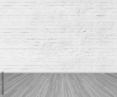Poster emty room with brick wall