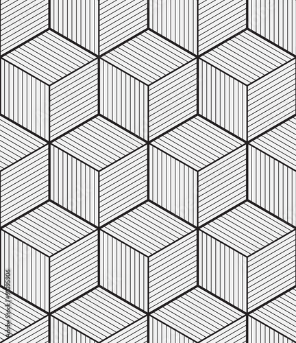 Cube, seamless pattern, vector illustration, outline