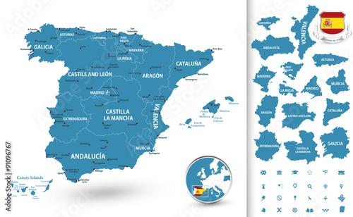 Zdjęcia na płótnie, fototapety, obrazy : Map of Spain with regions