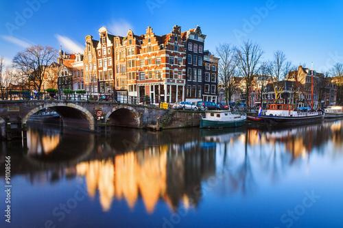 """Plakát, Obraz Krásný obraz světového dědictví UNESCO kanálů na """"Brouwersgracht"""" en &"""