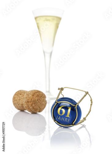 Poster Champagnerdeckel mit der Aufschrift 61 Jahre