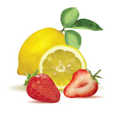 Fresh lemon with leaves and strawberry, slice and part isolated on white background. Vector illustration