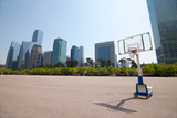 Streetball court in park area near office buildings in Seoul