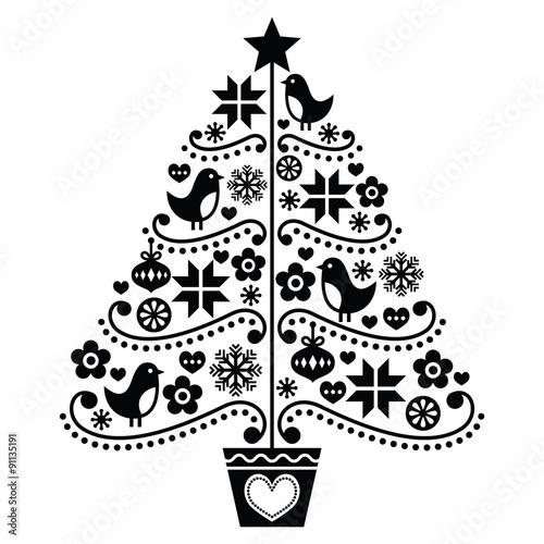 Fototapeta Christmas tree design - folk style with birds, flowers and snowflakes