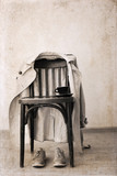 Artwork in retro style, chair, classic trench,  sport shoes