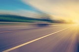 abstract empty asphalt blurry road and sunlight with space - 91166937
