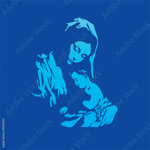 Fototapeta Mother Mary with Jesus Christ in blue