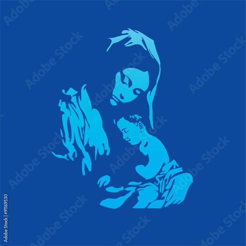 Zdjęcia na płótnie, fototapety, obrazy : Mother Mary with Jesus Christ in blue