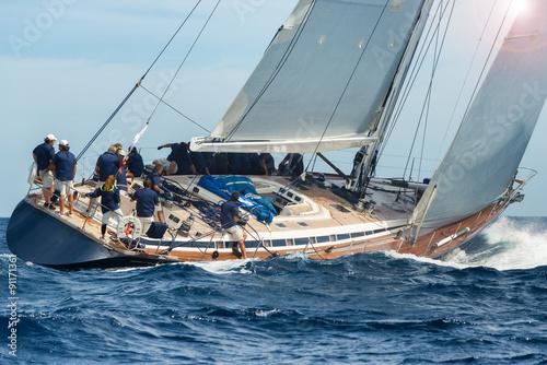 Fotobehang Zeilen sail boat sailing in regatta
