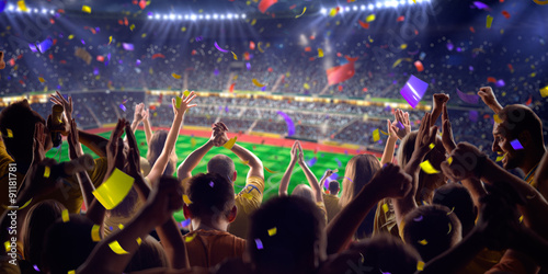 Fans on stadium game panorama view