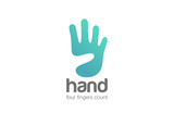 Hand Logo show four Fingers negative space design vector - 91185304