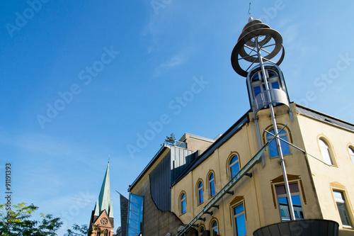 Leinwanddruck Bild Fassade in der Stadtmitte von Herne, NRW, Deutschland