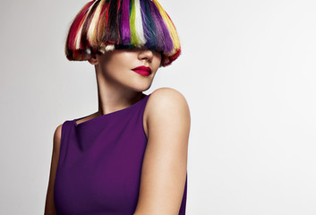 beauty woman with different color hair