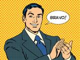 Fototapety man applause Bravo concept of success