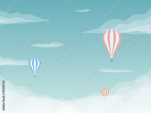 Hot air balloons vector background. Low poly design with sky and