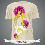 T-shirt design with flowers and colorful spots