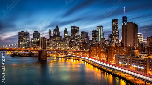 Brooklyn Bridge and the Lower Manhattan at dusk