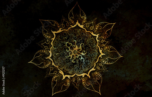 oriental ornamental mandala and color abstract background  - 91212117