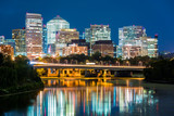Rosslyn district skyline connected to  Washington DC through Theodore Roosevelt memorial bridge. - 91234703
